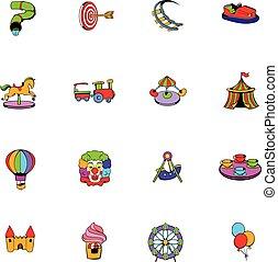 jogo, parque, caricatura, divertimento, ícones