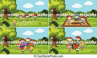 jogo, parque, tocando, crianças