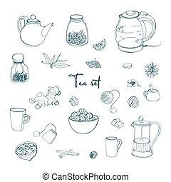 jogo, partido chá, objects., cobrança, com, mão, desenhado,...