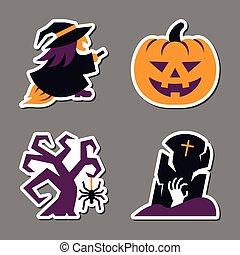 jogo, patchwork, adesivo, dia das bruxas, desenho, ícone