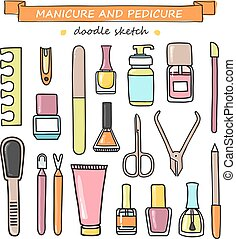 jogo, pedicure, doodle, equipment., vetorial, manicure