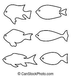 jogo, peixe, -, ilustração, silhuetas, vetorial