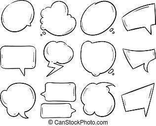 jogo, pensando, doodle, mão, formas, vetorial, fala, em branco, bolhas, desenhado, caricatura