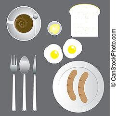 jogo, pequeno almoço, ícone