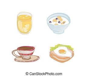 jogo, pequeno almoço, saudável