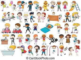 jogo, personagem, caricatura