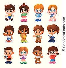 jogo, personagem, ilustração, caricatura, vetorial, crianças, desenho