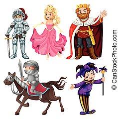 jogo, personagem, medieval, caricatura