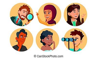 jogo, personagem, multicultural, vetorial, curioso, feliz