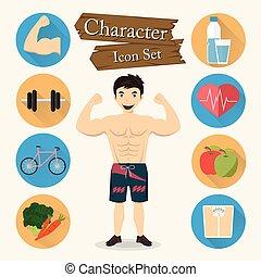 jogo, personagem, muscular, vetorial, homem, ícone
