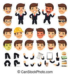 jogo, personagem, seu, desenho, homem negócios, caricatura