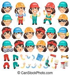 jogo, personagem, trabalhador, aanimati, seu, desenho, caricatura, senhora, ou