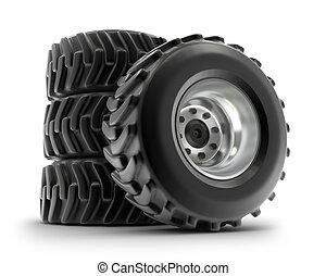 jogo pesado, rodas, isolado, trator