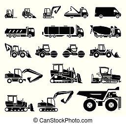 jogo pesado, transporte, equipment., machinery., construção, vário