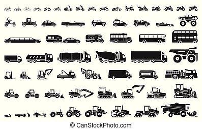 jogo pesado, transporte, motocicletas, ícones, bicycles, carros, veículos, machinery., construção, vário, buses., caminhões, industrial