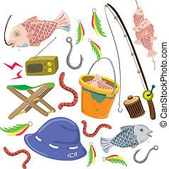jogo, pesca, coloridos, material