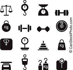 jogo, peso, ícone
