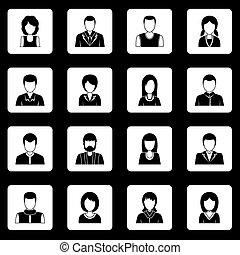jogo, pessoas, ícones, vetorial, vário, quadrados