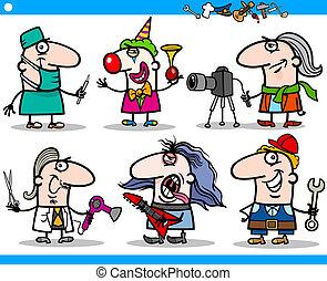 jogo, pessoas, caricatura, caráteres, ocupações
