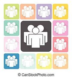 jogo, pessoas colorem, ilustração, vetorial, ícone