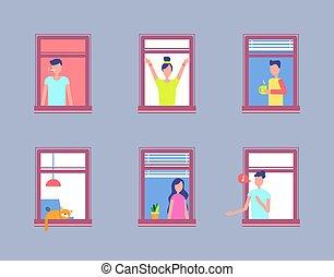 jogo, pessoas, homens, vizinhos, janela., abertos, mulheres