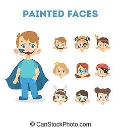 jogo, pintado, retratos, caras, crianças, feliz