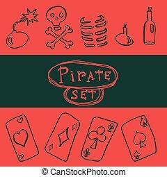 jogo, pirata, ícone