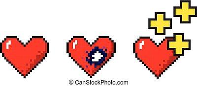 jogo, pixelart, médico, vetorial, conceitos, corações