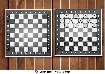 jogo, placas, madeira, vetorial, xadrez, fundo