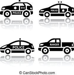 jogo, polícia, ícones, carros, -, transporte