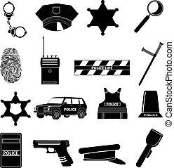 jogo, polícia, ícones