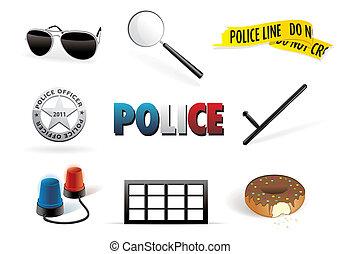 jogo, polícia, ordem, ícone