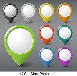 jogo, ponteiros, redondo, conteúdo, lugar, seu, 3d