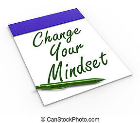 jogo, positivo, mostrando, mente, otimismo, seu, atitude, caderno, positivity, ou, mudança