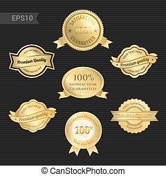 jogo, prêmio, ouro, cor, qualidade, distinção, satisfação, tom, emblema, emblema, ou, fita, garantia