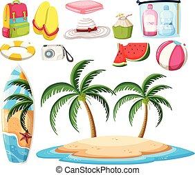 jogo, praia, objetos