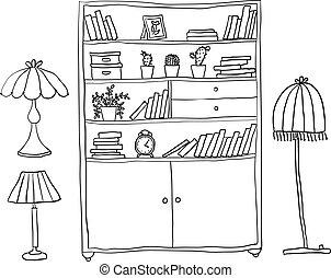 jogo, prateleira, -, elementos, lâmpadas, desenho