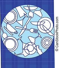 jogo, pratos, abstratos, -, 2, tabela