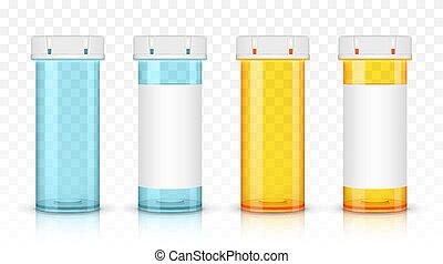 jogo, prescrição, isolado, bottles., experiência., medicina, transparente, vazio