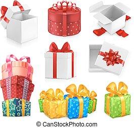jogo, presente, bows., caixas, vetorial, 3d, ícone