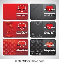 jogo, presente, cartões, corações