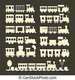 jogo, presente, crianças, trem, silueta, vetorial, viagem, ferrovia, transporte, brinquedo, locomotiva, illustration.