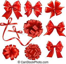 jogo, presente, grande, arcos, vetorial, fitas, vermelho