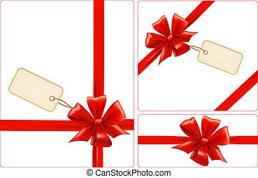 jogo, presente, venda, labels., arcos, vector., fitas, vermelho