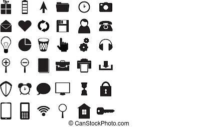 jogo, pretas, ícones
