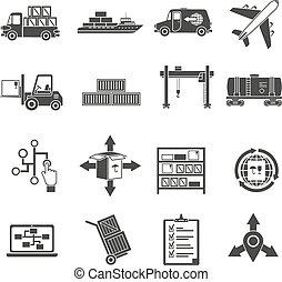 jogo, pretas, logistic, ícones