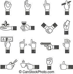 jogo, pretas, mão, ícones