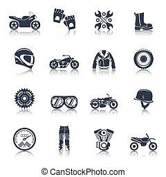 jogo, pretas, motocicleta, ícones