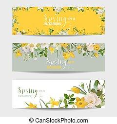 jogo, primavera, -, vetorial, flor, bandeira