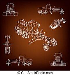 jogo, projection., lines., paralelo, machinery., silhuetas, plurality, grader, perspectiva, vehicle., scraper., construção, images., contorno, estrada, vista